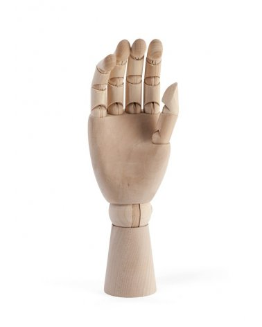Woman's hand articulated in wood