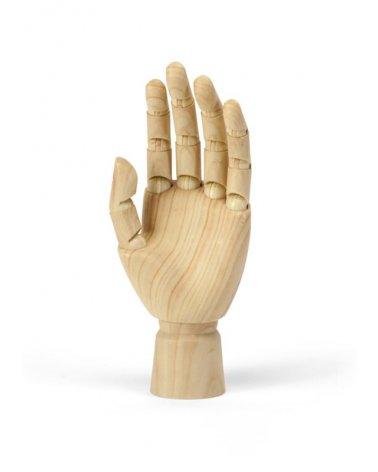 Mano derecha de mujer articulada efecto madera